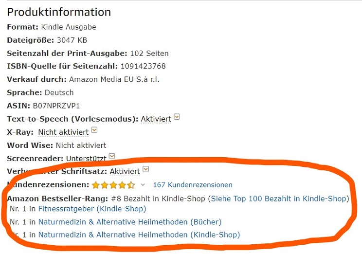 Produktinformationen eines Amazon Kindle Bestsellers.