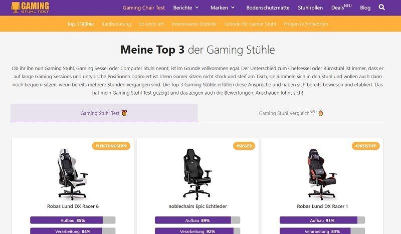 Nischenseiten Beispiel: Gamer-Stuhl-Test.de