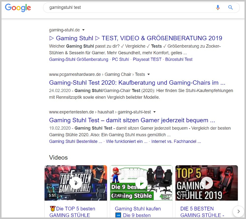 Gamingstuhl Test Google Suchergenisse