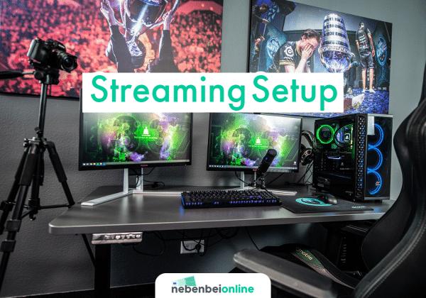 Streaming Setup mit Mikrofon Kamera und PC