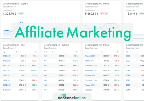 Affiliate Marketing Einnahmen